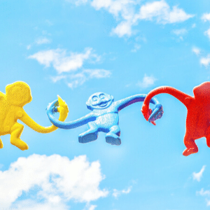 Colourful monkey game monkeys linked hands in sky generative change